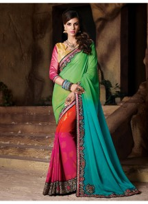 Glowing mix colour Designer Saree