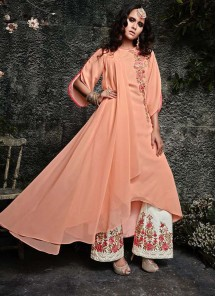 Glowing Peach Party Designer Palazzo Suit