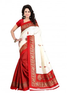 Glowing Red With Off White Bhagalpuri Silk Printed Saree