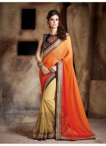 Glowing red Yellow Designer Saree