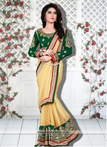 Glowing Yellow Designer Saree