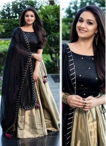 Gold And Black Designer Lehenga Choli With Moti Work Dupatta