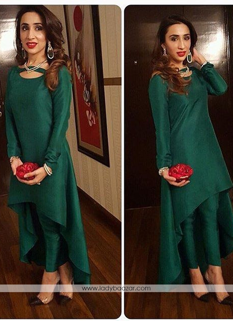Gorgeous Satin Silk Dark Green Party Wear Up And Down Gown With Stitched Dhoti Style Pant