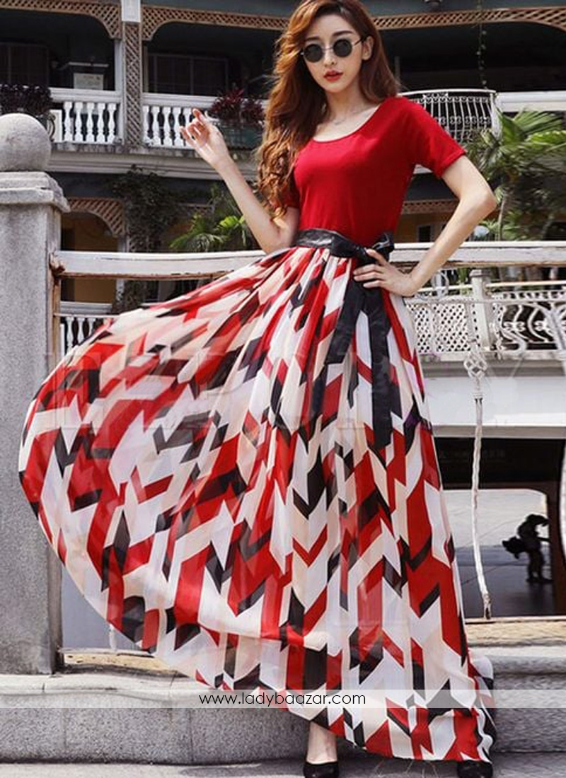 Gorgeous Short Sleeve Digital Printed Faux Georgette Maxi Gown