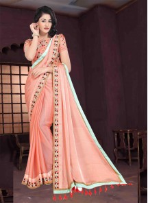 Gorgonize Chiffon Peach Embroidery Work Designer Saree
