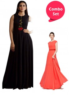 Graceful Partywear Georette Gown & Embroidered Rayon Gown- Pack of 2