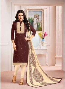 Gratifying Brown Embroidery With Printed Salwar Suit