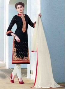 Gratifying Cotton  Embroidered Straight Suit