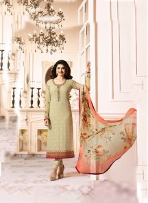 Gratifying  Cream Embroidery Work Georgette N Chiffon Salwar Suit