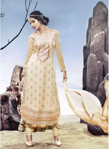 Desirable Cream Georgette Embroidered Anarkali Suit