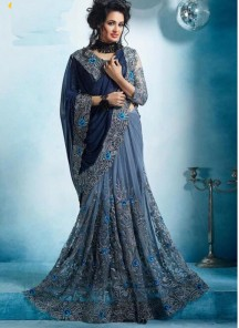 Gratifying Net With Georgette Navy Grey With Blue Designer Saree