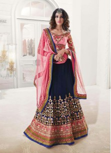 Gratifying Pink And Navy Blu Georgette Anarkali Lehenga Choli
