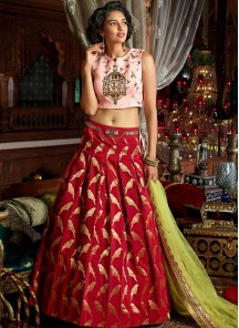 Gratifying Pink And Red Lehenga Choli