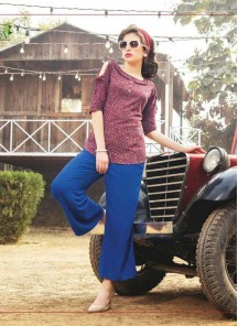Gratifying Red With Blue Colour Western Wear