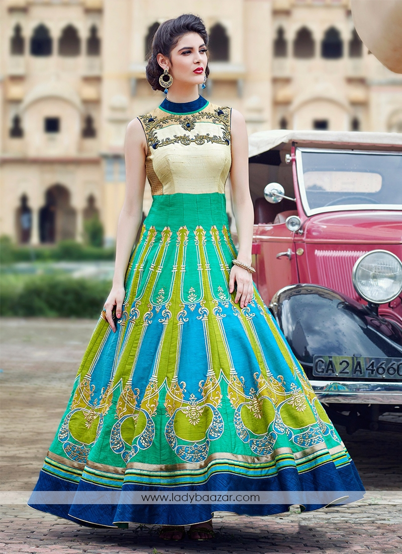Green Blue Banglori Silk Pure Hand Work Stitched Anarkali Suit