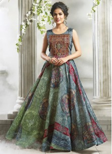 Green & Blue Shaded Designer Stiched Gown
