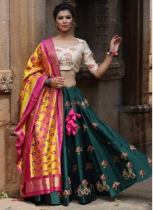 Green Embroidered Work Satin Silk Designer Lehenga Choli With Silk Dupatta