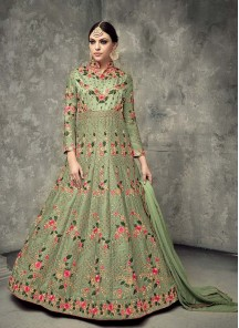 Green Festival Floor Length Anarkali Suit