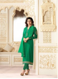 Green Georgette Printed With Embroidery Work Straight Salwar Suit