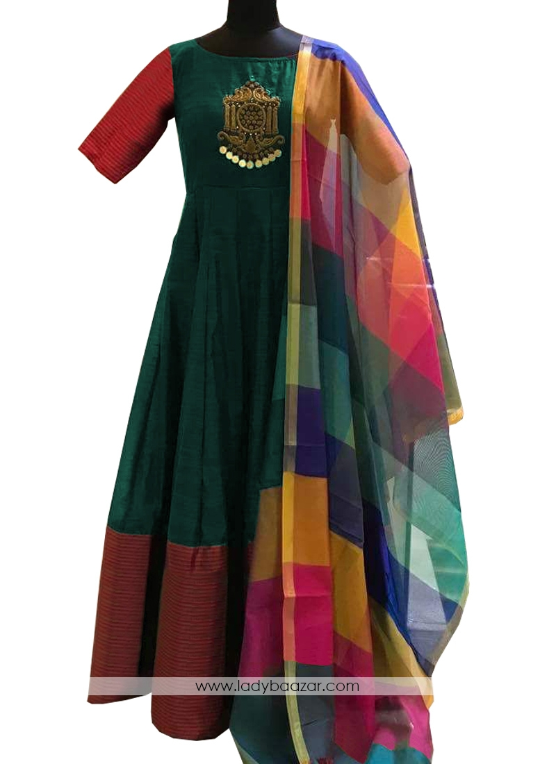 Green Tapeta Silk Diamond  And Embroidery Work Readymade Gown With Cotton Silk Dupatta