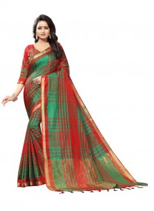 Green With Red Cotton Silk Casual Saree