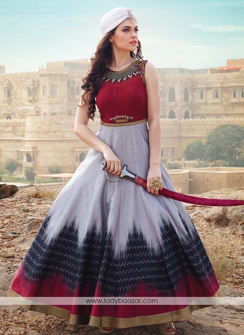 Grey And RedBanglori Silk Pure Hand Work Stitched Anarkali Suit