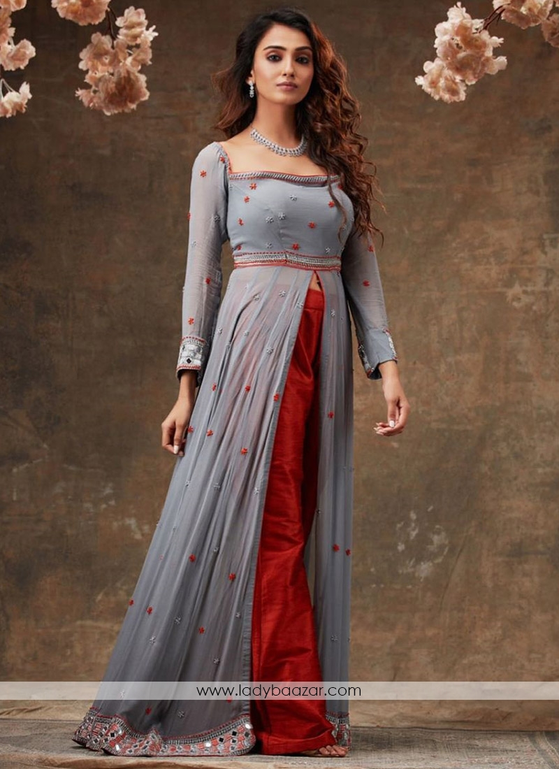 Grey Designer Embroidered  And Foil Mirror Work Front Cut Designer Wear Outfit Along With Plazzo
