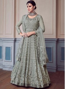 Grey Georgette Anarkali Salwar Suit