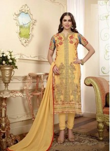 Gripping Cotton Embroidery Work Churidar Suit