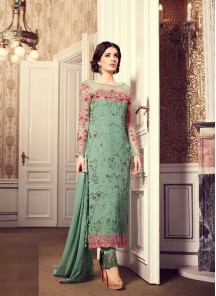 Gripping Green Georgette Embroidery Work Designer Suit