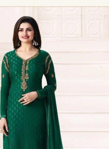 Groovy Brasso Green Embroidery Work Straight Suit