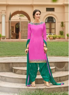Groovy Green With Pink Cotton Embroidery Work Patiyala Suit
