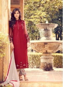 Groovy Red Color Georgette Embroidery Work Pant Style Suit