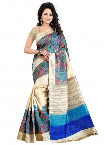 Haute Bhagalpuri Silk Multi Color Printed Saree