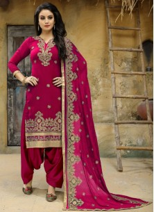 Heavenly Faux Georgette Pink Punjabi Suit