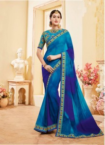 Honourable Georgette Blue Shaded Saree