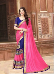Honourable  Georgette Pink With Blue  Designer Saree