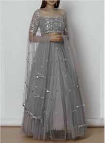 Hot Stylish Designer Wear Grey Foil Mirror-embroidered lahenga (Blouse Unstitched)