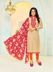 Hypnotic Cream Chanderi Printed With Embroidery Work Salwar Kameez
