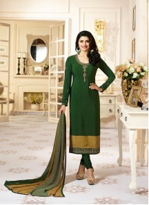 Hypnotizing Crepe Green Embroidery With Printed Straight Suit