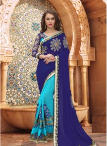 Hypnotizing Embroidery Work Half N Half Saree
