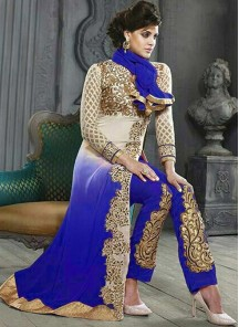 Hypnotizing Georgette Blue Designer Straight Salwar Suit