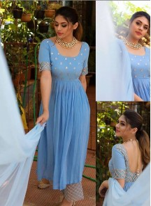 Ice Blue Impressive Designer Embroidered And Handwork Outfit Along With Plazzo And Dupatta