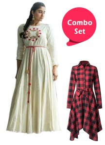 Ideal Colored Casual Cotton Printed Frock & Rayon Kurti - Pack of 2