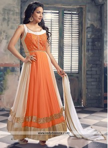 Ideal Embroidered Work Orange georgette Anarkali Salwar Kameez