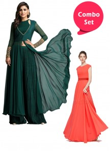 Ideal Gorgette Gown & Stitched Green Embroidered Tunic With Palazzo Set - Pack of 2