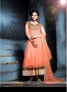 Ideal hand Work Orange Net Anarkali Salwar Kameez