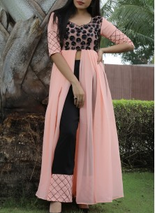 Ideal Peach Colored Partywear Georgette Top-Bottom Plazzo Set