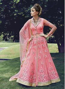 Ideal Pink Lehenga Style Satin Embroidery Anarkali Suit