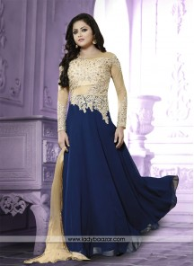 Immaculate Georgette blue Embroidered Work Anarkali Salwar Suit